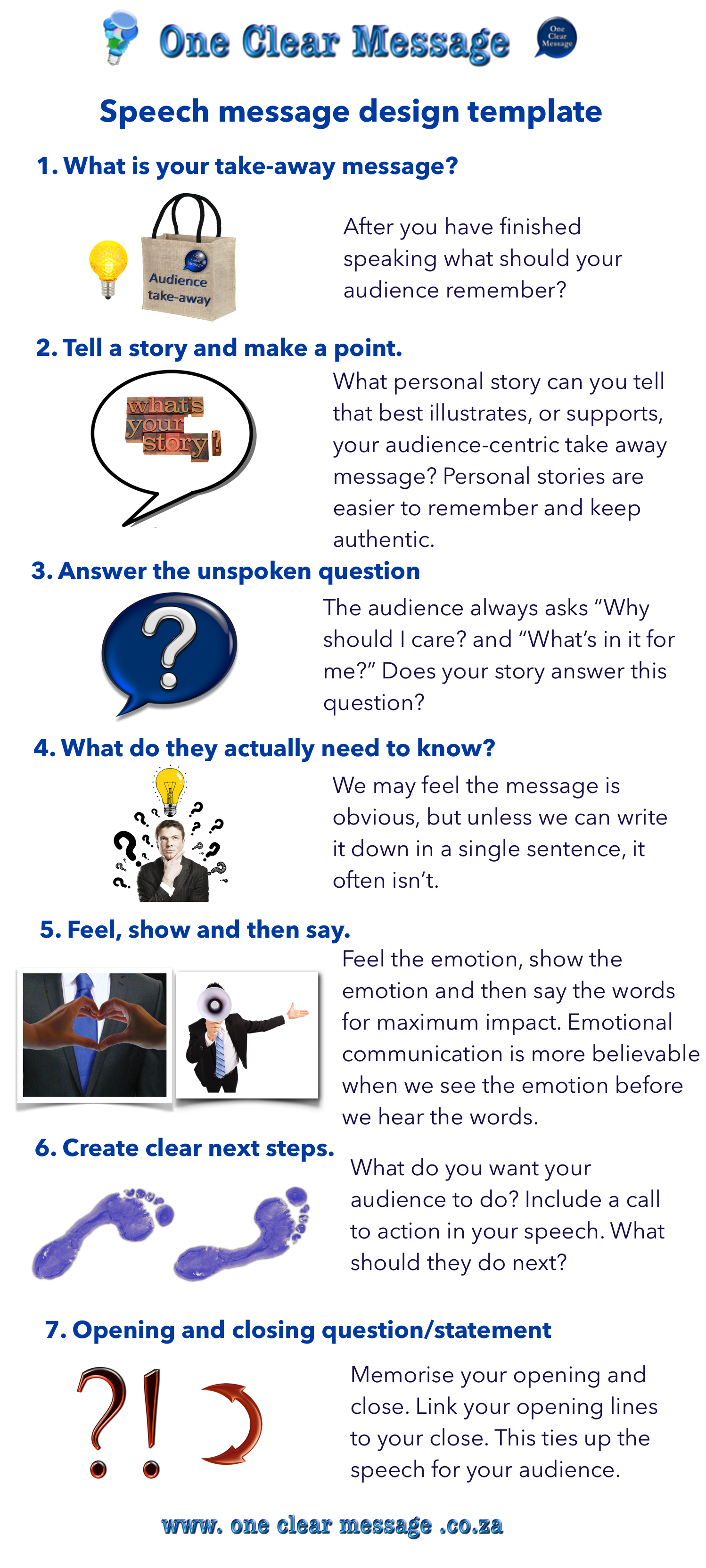 One Clear Message basic speech construction design template