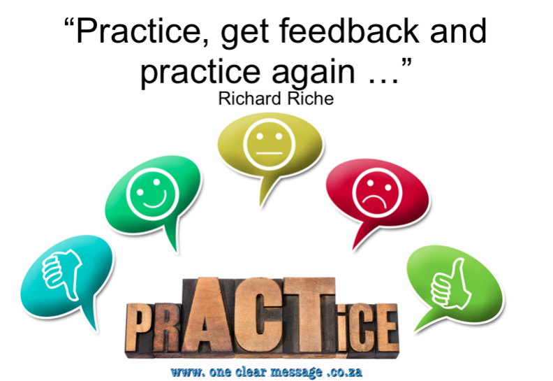 Presentation tips for business practice with feedback