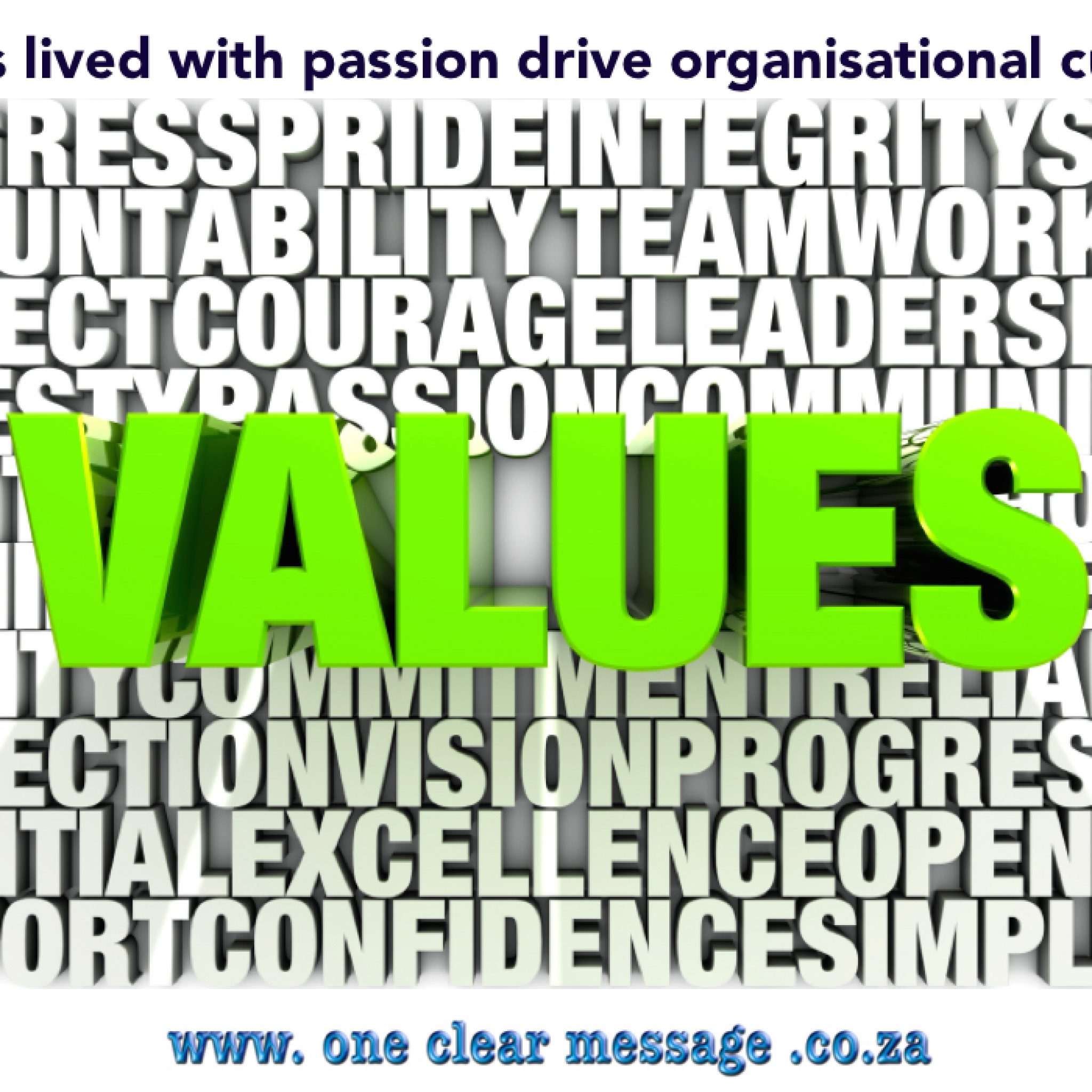 Values lived with passion drive organisational culture