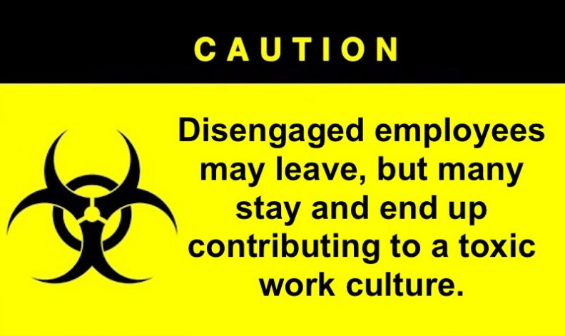 Disengaged employees end up contributing to a toxic work culture.