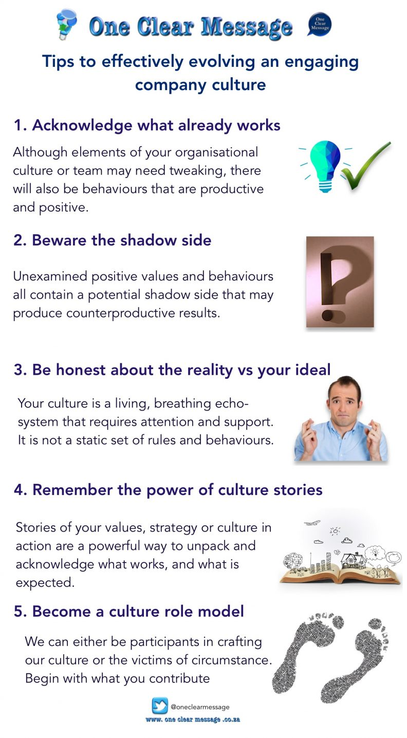 Tips to effectively evolving an engaging company culture Infographic
