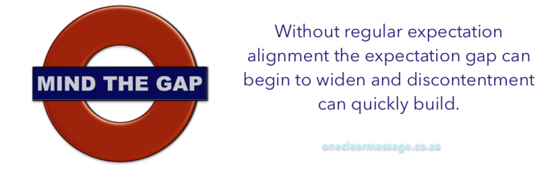 Without regular expectation alignment the expectation gap can begin to widen and discontentment can quickly build.